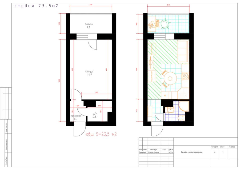 Пример планировки студии 23 м2. Технический чертеж.