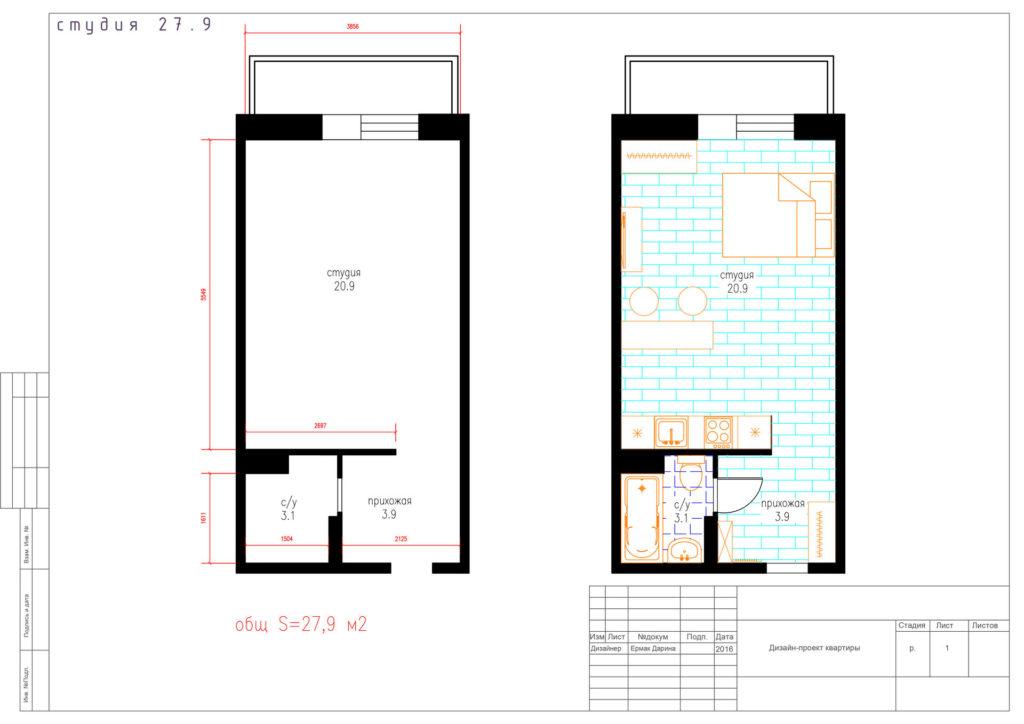 Пример планировки студии 28 м2. Технический чертеж.