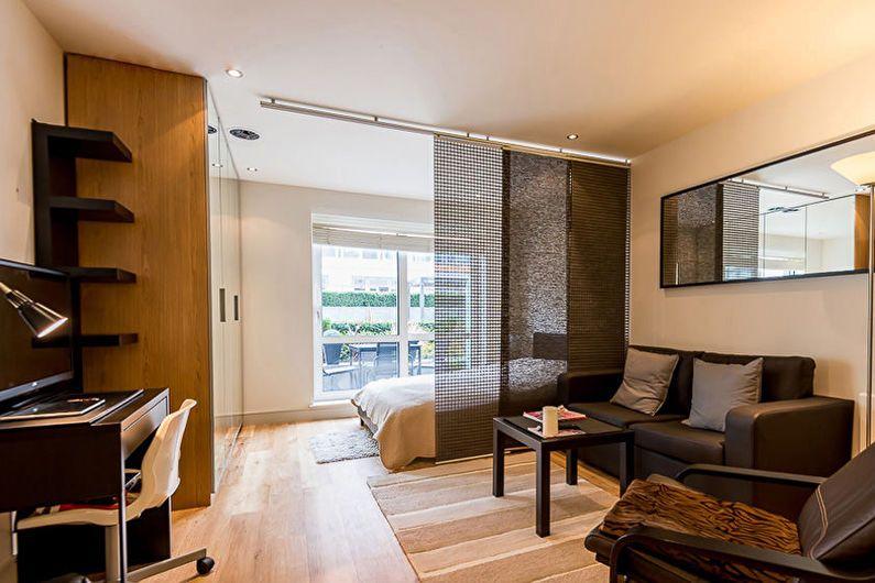 Дизайн студии для двоих с зонированием спальни